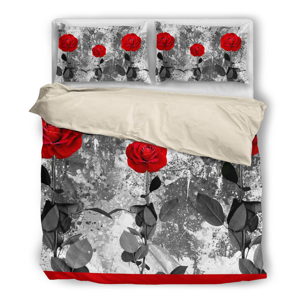 Bedding - Red Roses. beige Algarve online shop