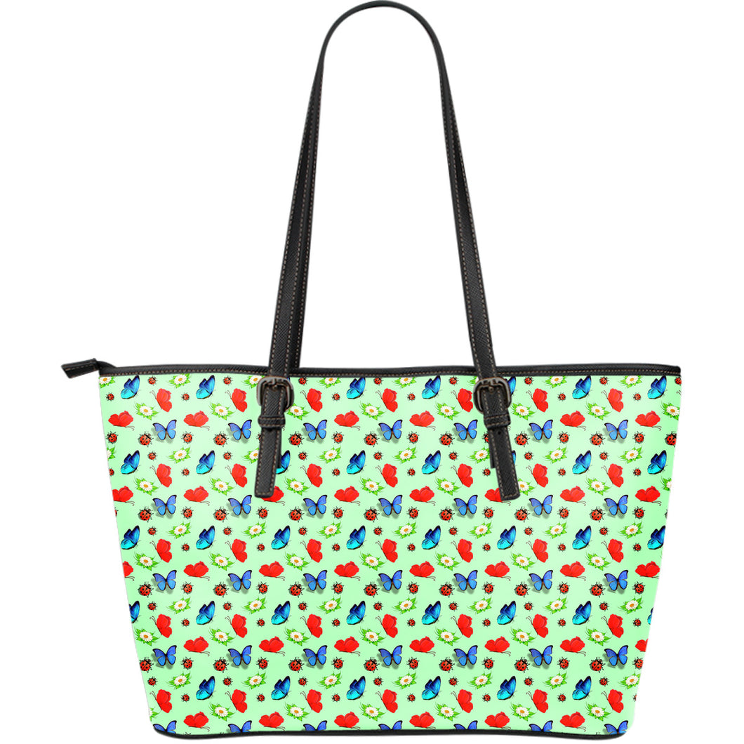Butterfly Garden Large Leather Tote Bag