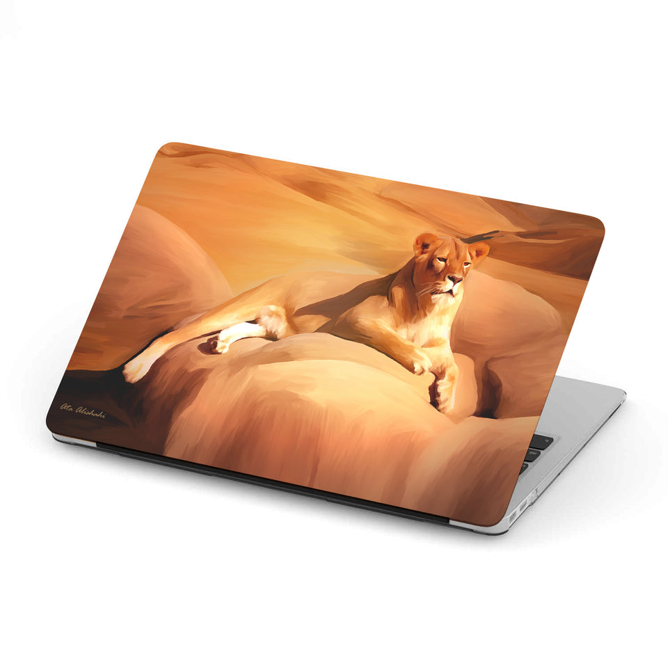 Mac-book case 12 inch with lioness print
