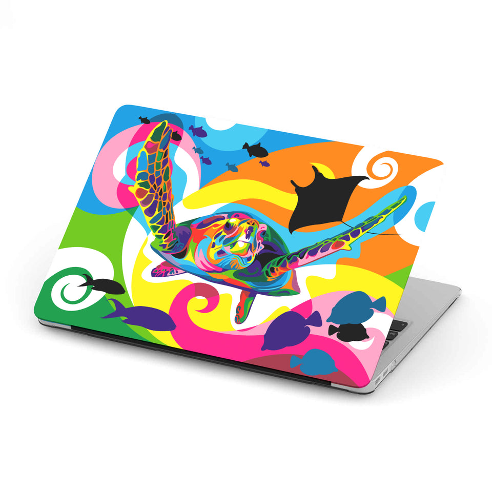 Cool MacBook case, abstract sea turtle artwork, models 11 inch,13inch, 12 inch, 15 inch, Macbook Pro and Macbook Air