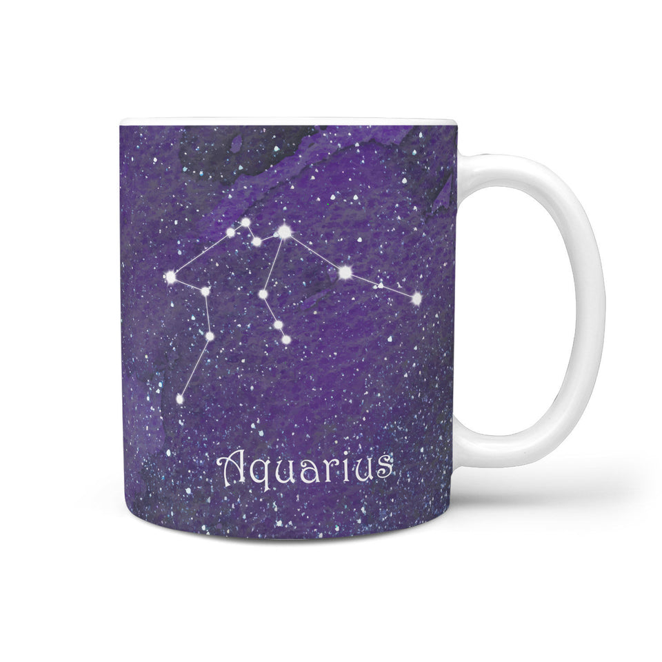Zodiac Aquarius Constellation Coffee Mug Purple