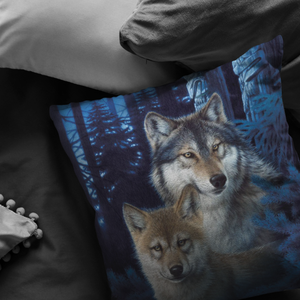 wolf Pillow Mystic Canyon on couch