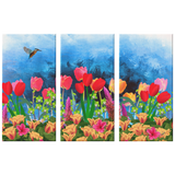 Hummingibird - Tulips Wall Art Canvas 3 Pieces 1.25""