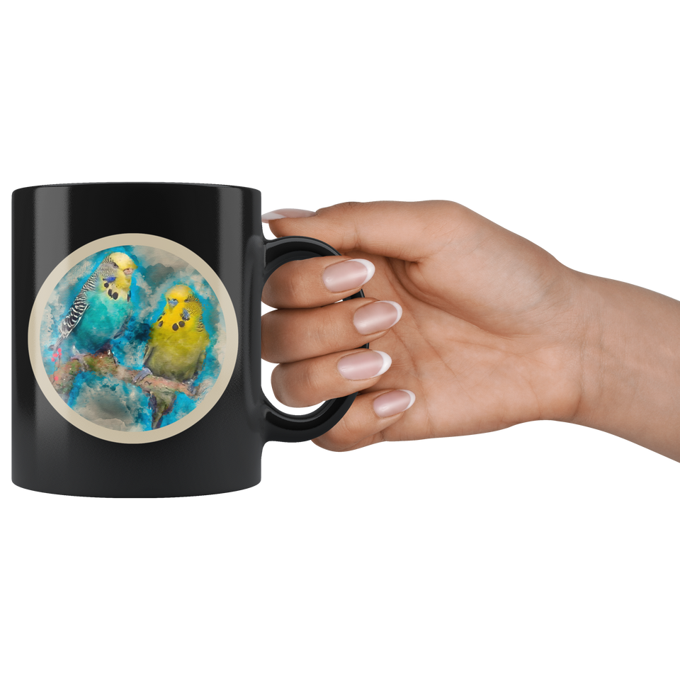 Budgie mug black algarve online shop