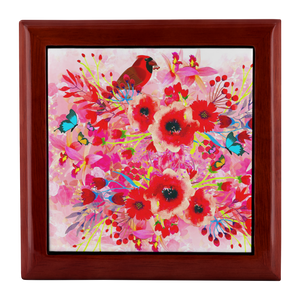 Red Flowers - Bird Jewelry Box