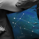 gemini pillow on a couch