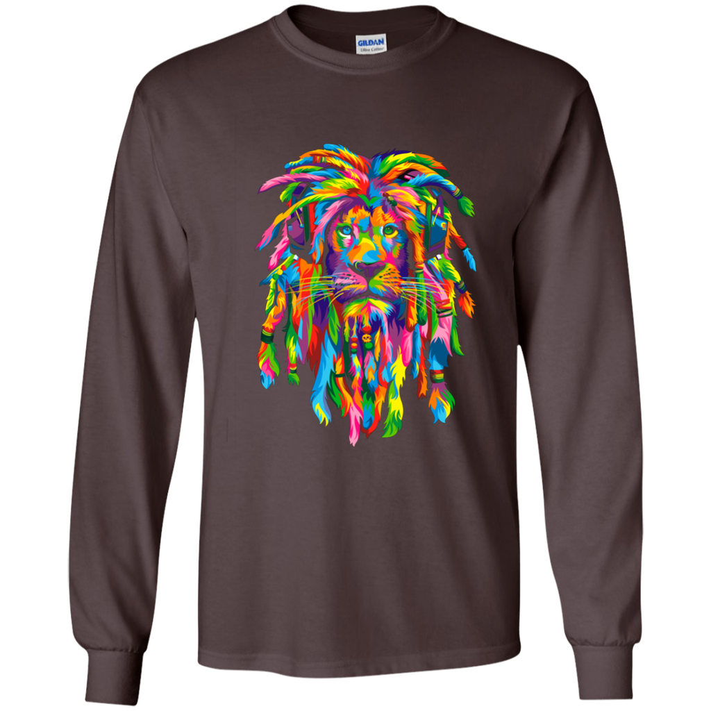 Rasta Lion T-Shirt Long Sleeves Dark Chocolat