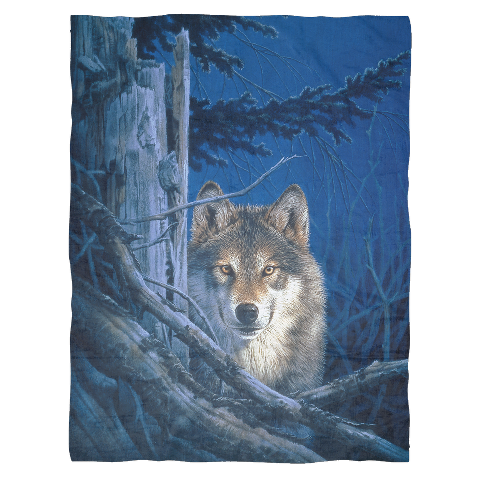 wolf throw blanket fleece moonshine