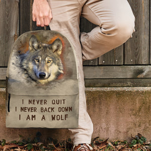 backpack wolf I never give up