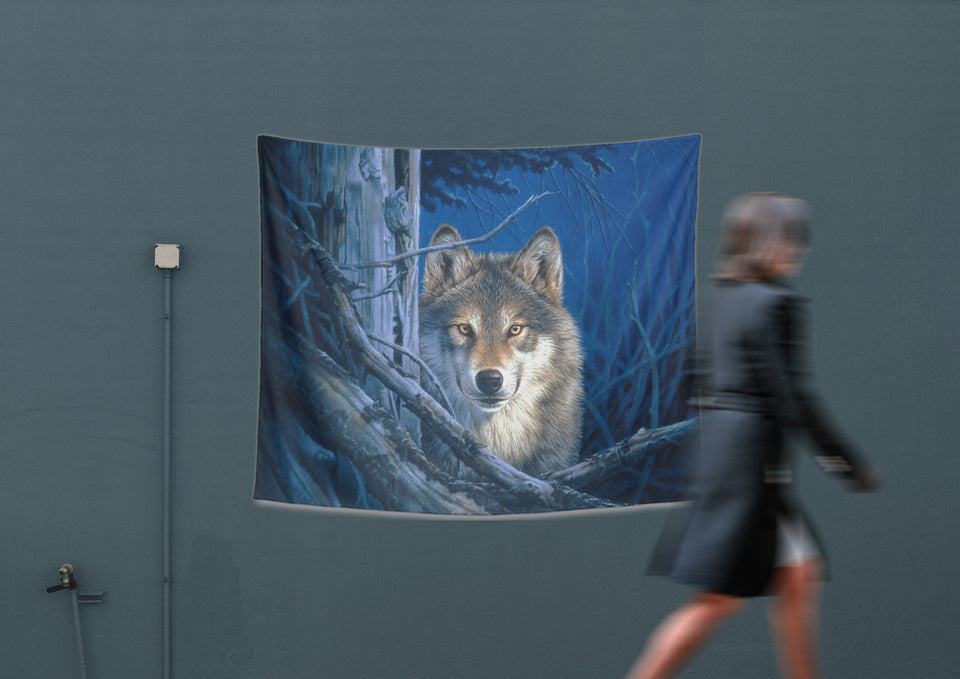 Wolf Tapestry hanging on wall with passing lady