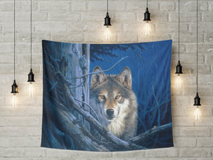Wolf Tapestry Wall with lights