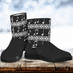 Music Note Faux Fur Boots