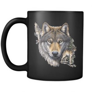 wolf mug black 11 oz. ceramic