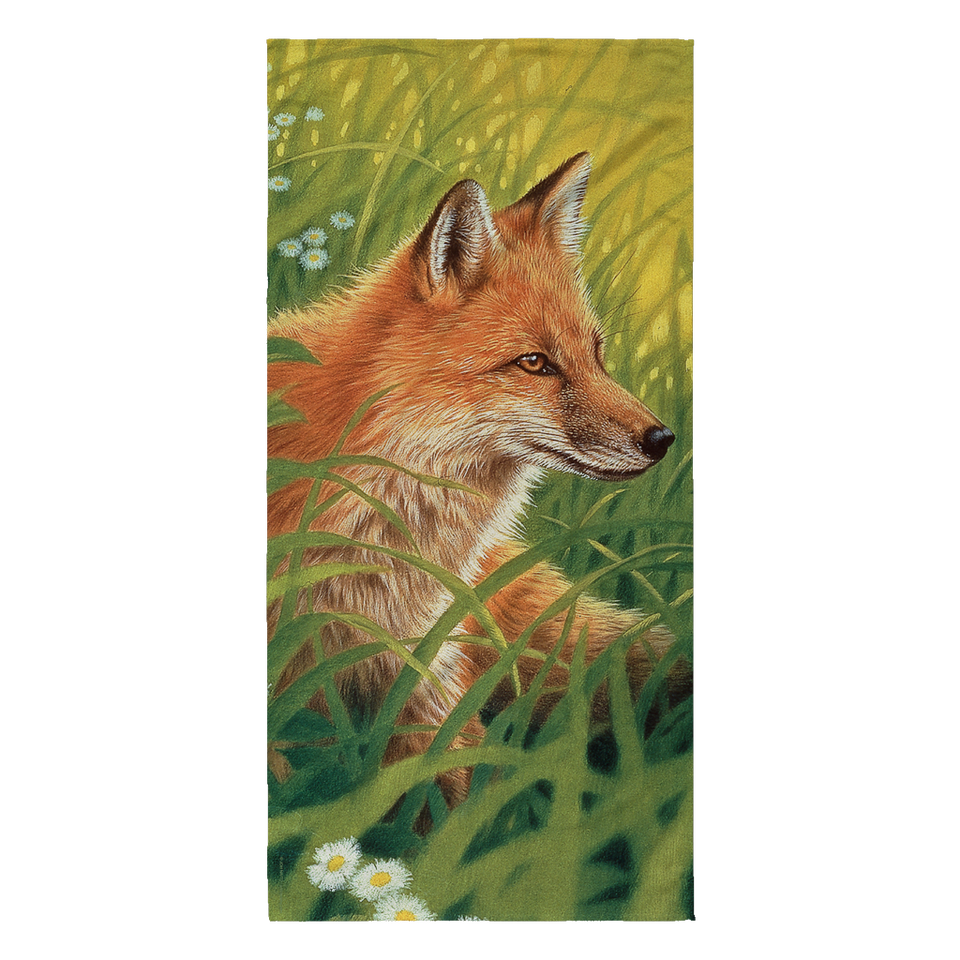 Beach Towel - Foxes - Summer Green