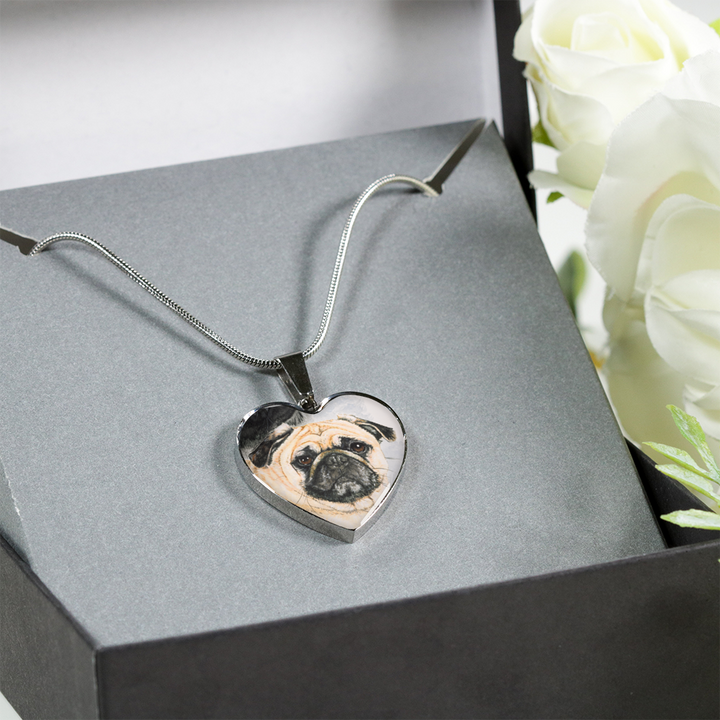 Pug necklace in gift box
