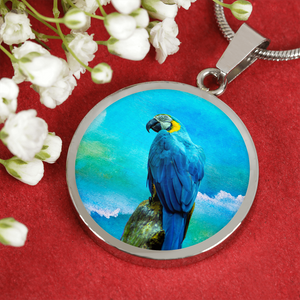 silver parrot necklace