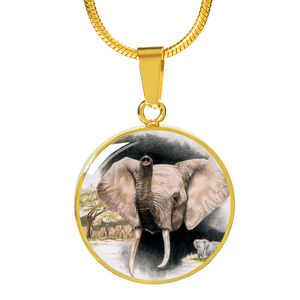 Golden necklace elephant
