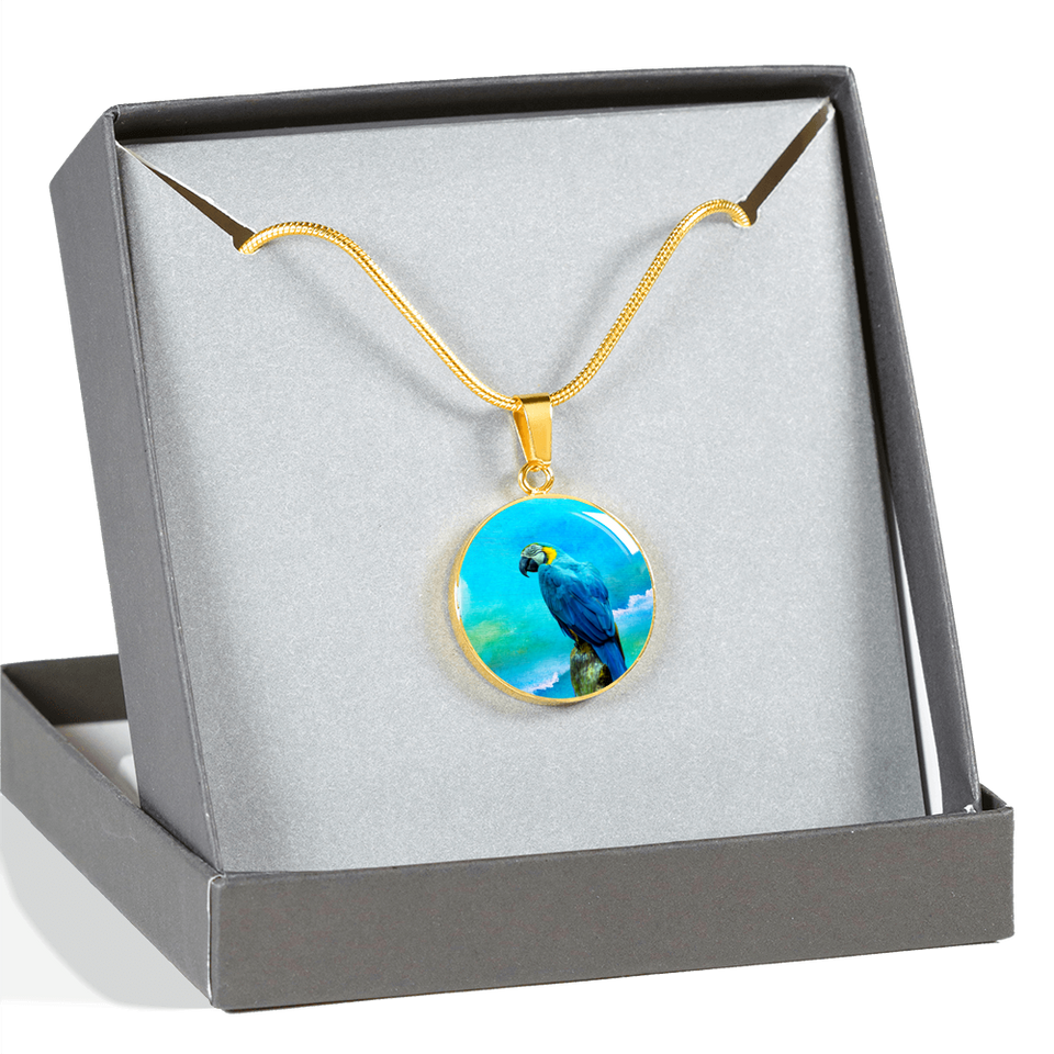 gold parrot necklace with gift box