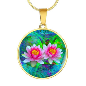 Lotus flower necklace gold