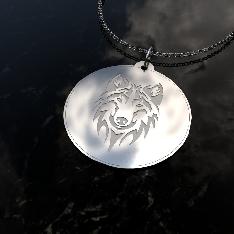 Wolf Necklace Solid Silver