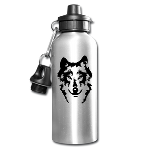 Water Bottle Personalized Wolf Bottle - silver