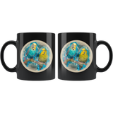 Parakeet mug black algarve online shop front and back