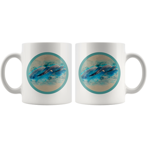 dolphins coffee cup back and front