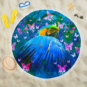 Beach Blanket - Parrot & Butterflies