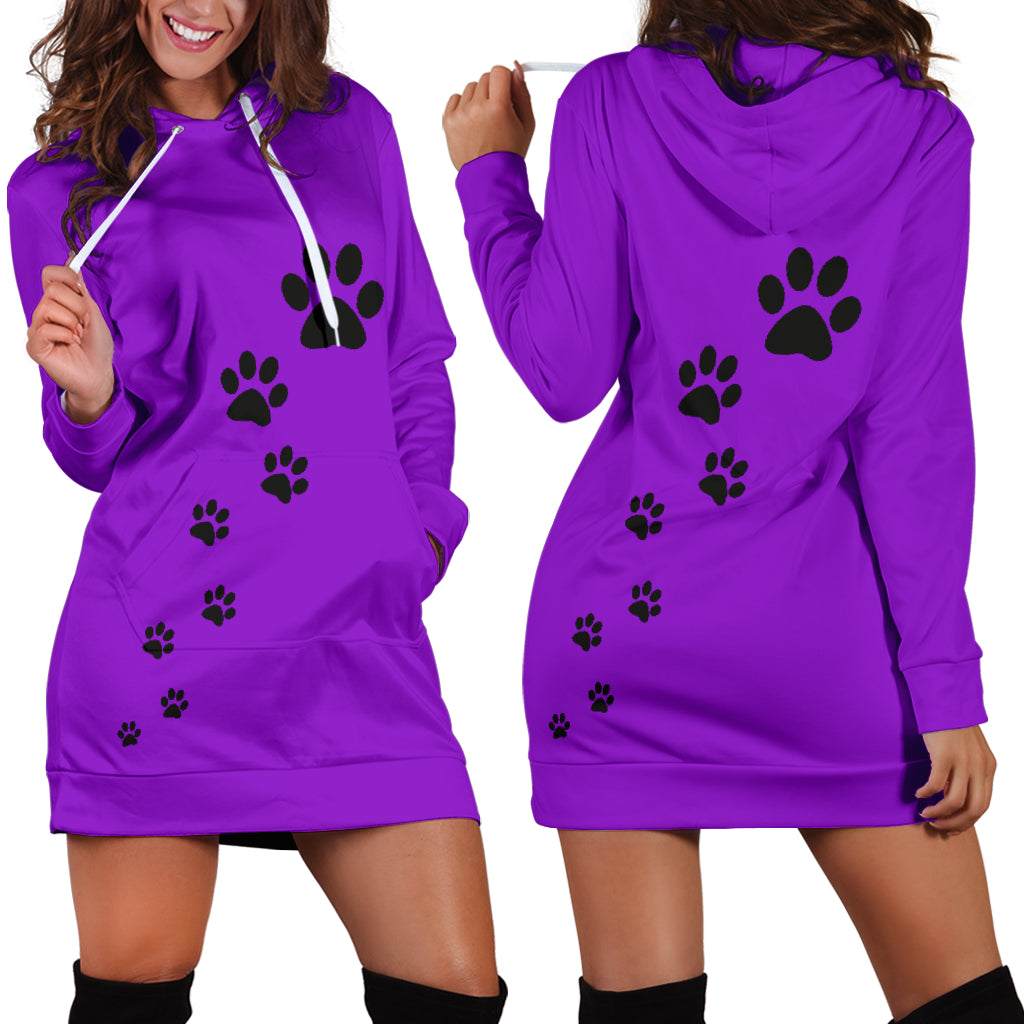 Women's paw prints hoodie dress-purple