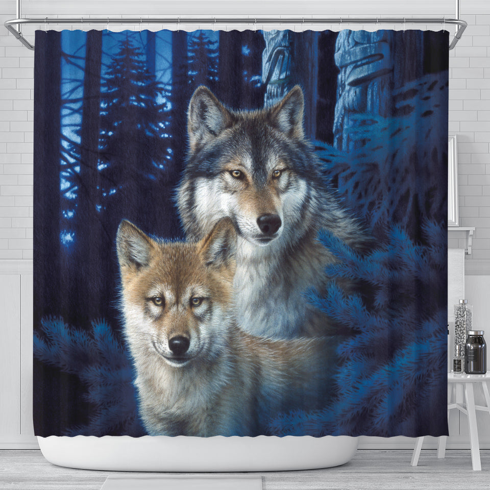 Wolf Mystic Canyon Shower Curtain