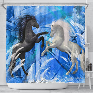 Shower curtains with horse print