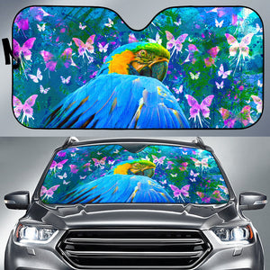 car sun shade with parrot print
