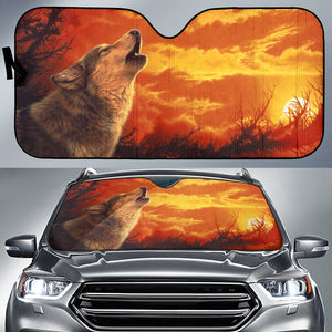 Car Sun Shade With Wolf Print