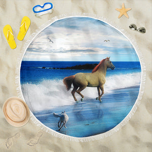 Beach Blanket - Horse in the Sea