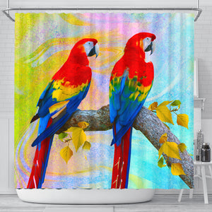 Shower curtain parrots