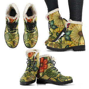 Asya Vintage Floral Faux Fur Lined Vegan Leather Boots