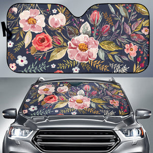 Car Sun Shade Vintage Flowers