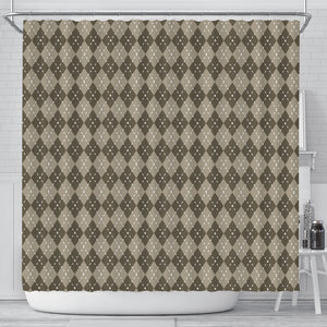 Chocolate Argyle Shower Curtain