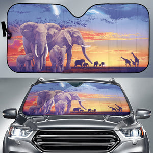 Car Sun Shade with Elephant Print