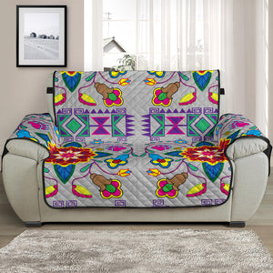 Sofa Protector Geometric Floral Winter Gray