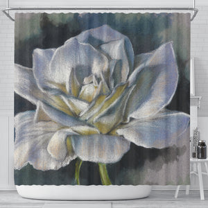 White Rose Shower Curtain - Bath Curtain Floral - Algarve Online Shop