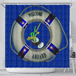 Welcome Aboard blue Shower Curtain