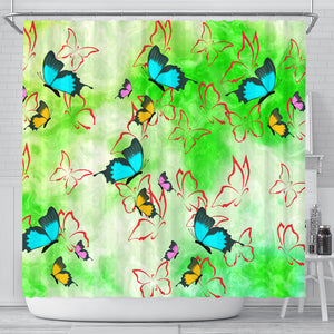 shower curtains with butterfly art.