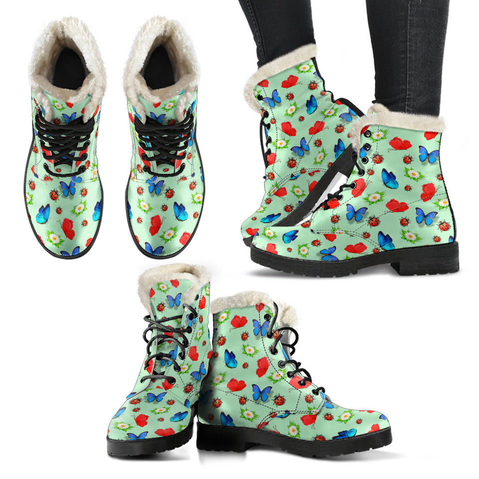 Butterfly Garden Faux Fur Leather Boots