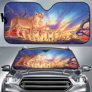 car sun shade with lion family print  algarve online shop