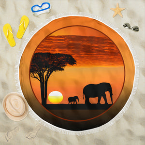 Beach Blanket - Elephants Tanzania Sunset