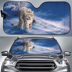 car sun shade with  Snow Leopard print  algarve online shop