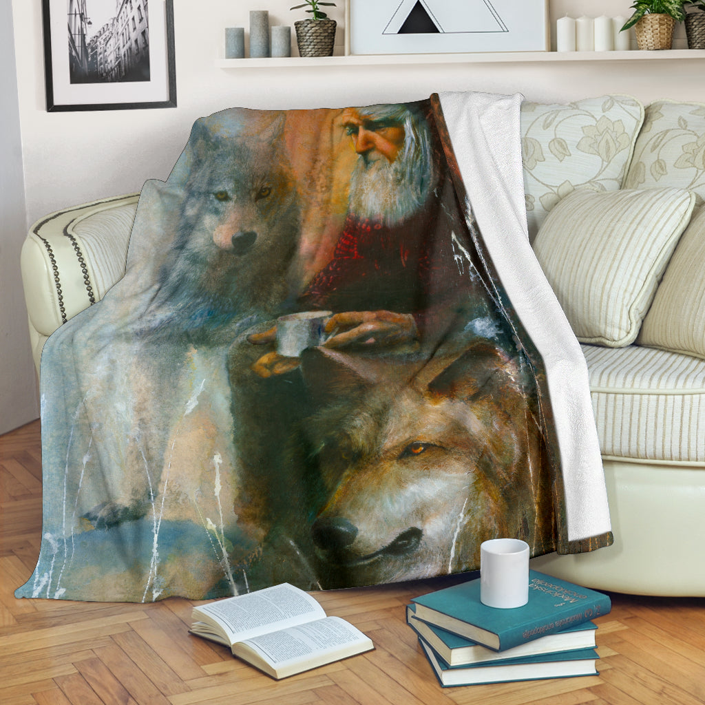 Wolf blanket old man