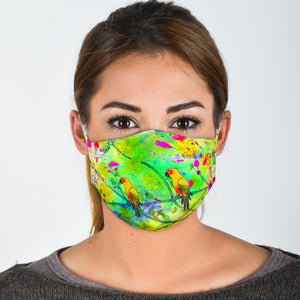 Abstract Parrot Face Mask