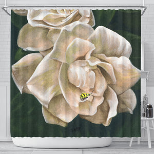 White Roses Shower Curtain - Bath Curtain Floral - Algarve Online Shop